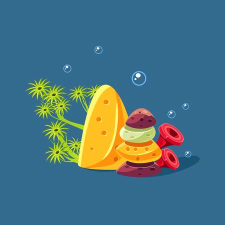 polyp: Algae And Pile Of Rocks Cute Cartoon Style Vector Illustration On Dark Blue Background Illustration