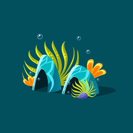 hideout: Algae And Blue Coral Cute Cartoon Style Vector Illustration On Dark Blue Background