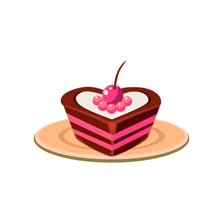 Herz formte Kuchen Cartoon-Art-flache Vector Design Illustration auf weißem Hintergrund