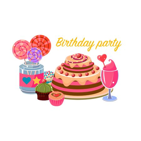 non alcoholic: Birthday Party Sweets Collection Cartoon Style Flat Vector Design Illustration With Text