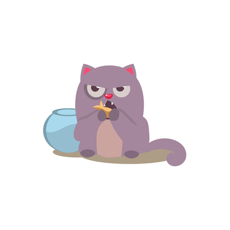 misbehaving: Cat Eating Golden Fish Adorable Emoji Flat Vector Caroon Style Isolated Icon
