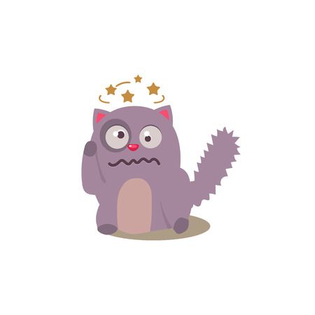 Cat Seeing Stars Before Eyes Adorable Emoji Flat Vector Caroon Style Isolated Icon