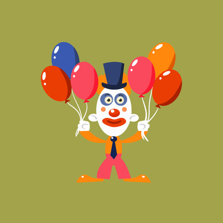 manner: Clown Holding Balloons Simplified Isolated Flat Vector Drawing In Cartoon Manner Illustration