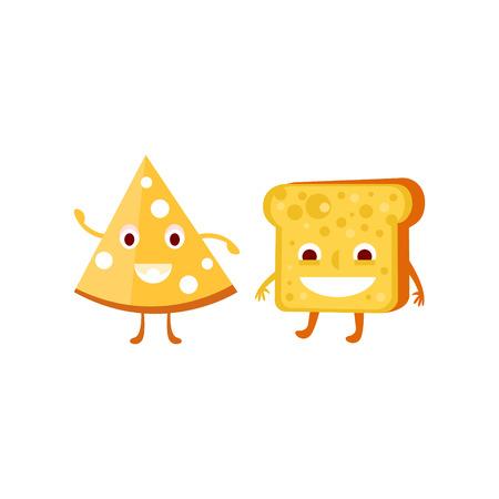 niños desayunando: Humanizado pan y queso Ilustración divertida plana del vector en estilo de dibujos animados aislado en el fondo blanco