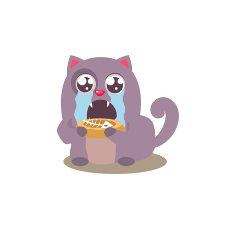 tearful: Devstated Cat  Who Finished Its Food Adorable Emoji Flat Vector Caroon Style Isolated Icon