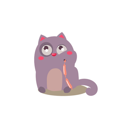 cat eating: Cat Eating Sausages Adorable Emoji Flat Vector Caroon Style Isolated Icon