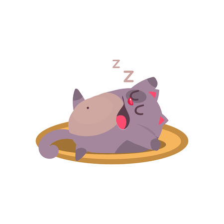 snoring: Cat Sleeping And Snoring Adorable Emoji Flat Vector Caroon Style Isolated Icon Illustration