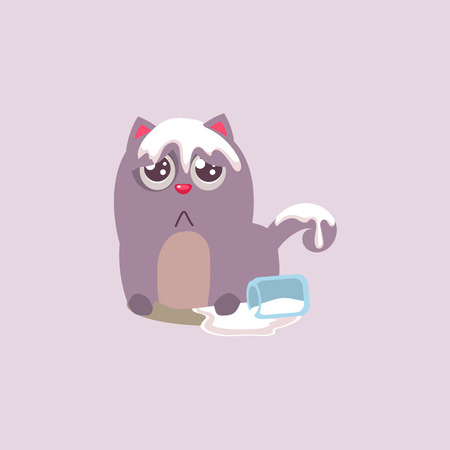 spilling: Cat Spilling The Milk All Over Itself Adorable Emoji Flat Vector Caroon Style Isolated Icon Illustration