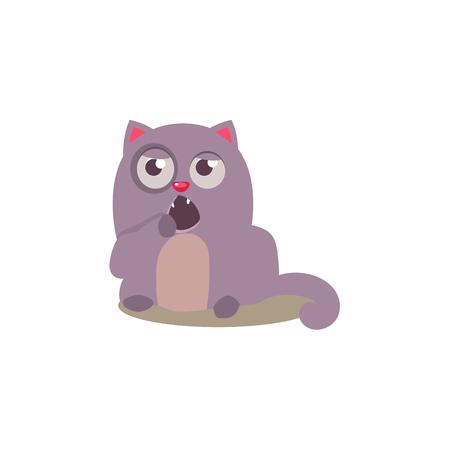 yawning: Sleepy Cat Yawning Adorable Emoji Flat Vector Caroon Style Isolated Icon Illustration