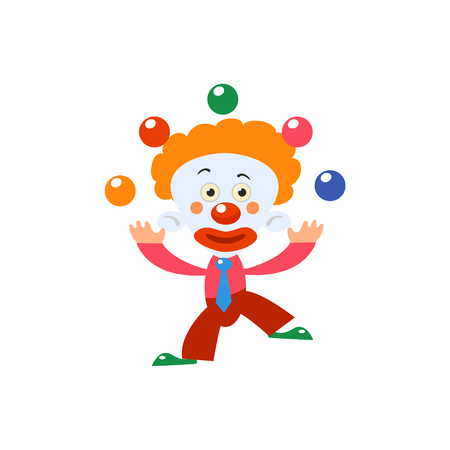 manner: Clown Juggling Simplified Isolated Flat Vector Drawing In Cartoon Manner