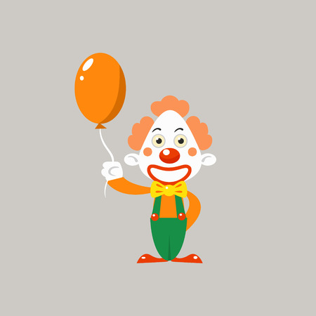 clown shoes: Happy Clown Holding Balloon Simplified Isolated Flat Vector Drawing In Cartoon Manner Illustration