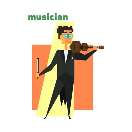 curly tail: Musician Playing Violin Abstract Figure Flat Vector Illustration With Text