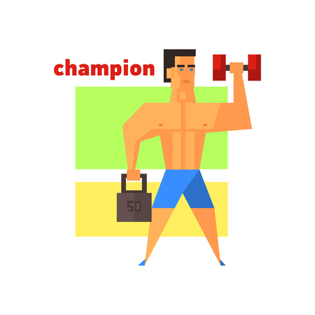 muscly: Man Champion Abstract Figure Flat Vector Illustration With Text