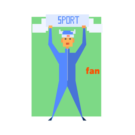 Sports Fan Cheering Abstract Figure Flat Vector Illustration With Text Illustration