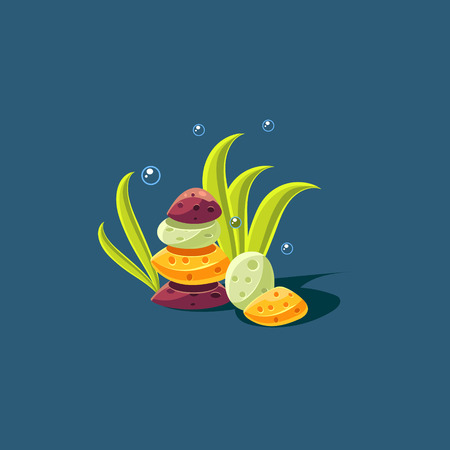 seagrass: Seagrass And Rock Pile Cute Cartoon Style Vector Illustration On Dark Blue Background