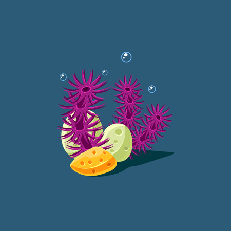 seagrass: Coral And Polyp Cute Cartoon Style Vector Illustration On Dark Blue Background Illustration