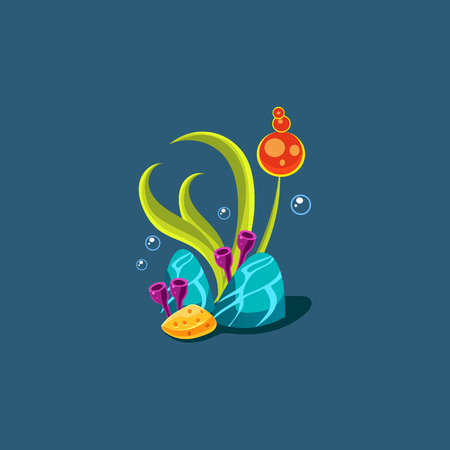 seagrass: Seagrass And Corals Cute Cartoon Style Vector Illustration On Dark Blue Background