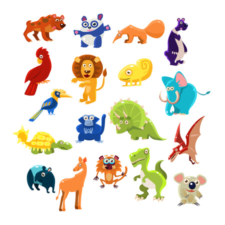 lion cartoon: Southern Animals Set  Of Flat Vector Icons In Cartoon Style Isolated On White Background