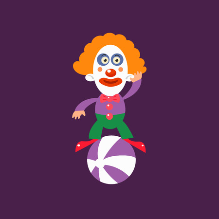 balancing: Clown Balancing On Ball Simplified Isolated Flat Vector Drawing In Cartoon Manner