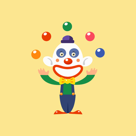 manner: Joyful Clown Juggling Simplified Isolated Flat Vector Drawing In Cartoon Manner Illustration