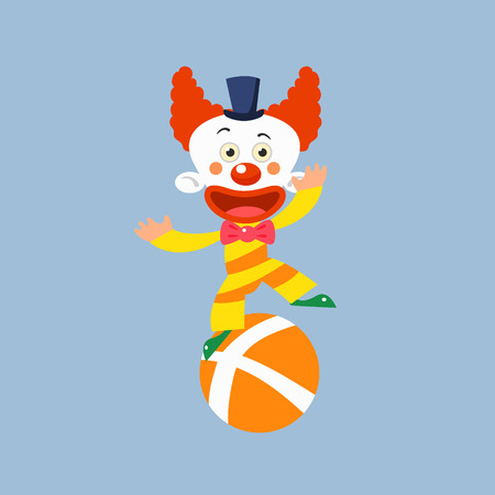 balancing: Clown Balancing On One Leg Simplified Isolated Flat Vector Drawing In Cartoon Manner Illustration
