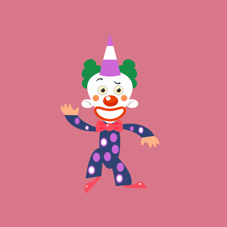 manner: Smiling Clown Greeting Simplified Isolated Flat Vector Drawing In Cartoon Manner