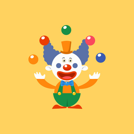 Happy Clown Juggling Simplified Isolated Flat Vector Drawing In Cartoon Manner Illustration