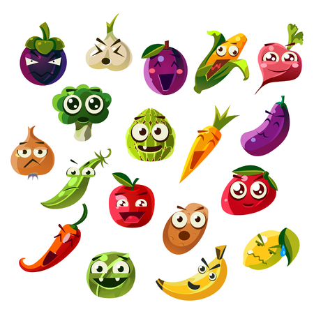 carrot isolated: Fruit Ands Vegetable Emoji Set  Of Flat Vector Icons In Cartoon Style Isolated On White Background