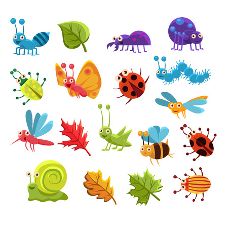 Insect And Leaves Collection Of Childish Characters Isolated Flat Colorful Vector Design On White Background Vector Illustration