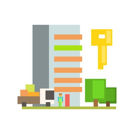 resettlement: Outdoors With Moving Truck, Buiding  And Key  8-bit Abstract Primitive Flat Vector Illustration On White Background Illustration