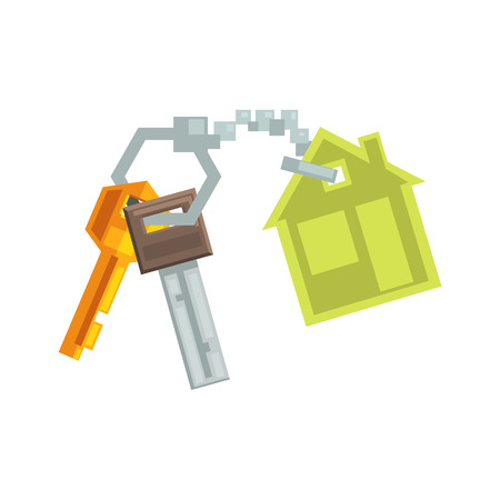 key ring: Keys on Key Ring In Shape Of A House  8-bit Abstract Primitive Flat Vector Illustration On White Background