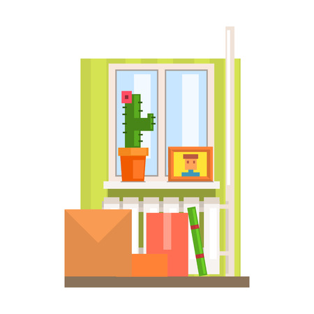 Room Interior With Boxes And Cactus On The Windowsill  8-bit Abstract Primitive Flat Vector Illustration On White Background
