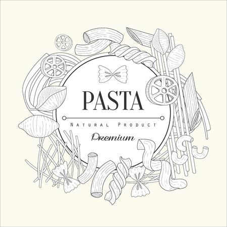 Pasta Collection Vintage Vector Hand Drawn Design Card Vector Illustration