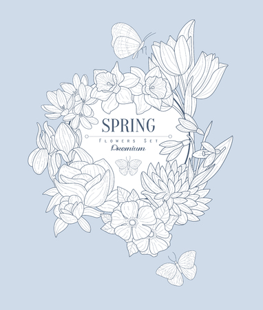 fleur cerisier: Fleurs de printemps Vintage Vector Hand Drawn Design Illustration