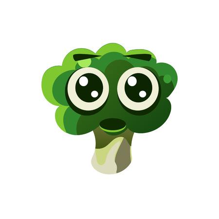 single eyed: Shocked Broccoli Emoji Flat Vector Illustration In Primitive Cartoon Style Isolated On White Background