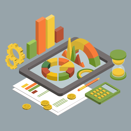 Flat 3d isometric business finance analytics, chart graphic report on tablet web infographic concept vector. Hourglass calculator money coins documents and collage on tablet. Stylish website banner.