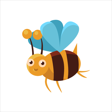 Bee Mid-air Childish Character Isolated Flat Colorful Vector Icon On White Background Çizim