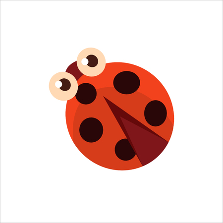 childish: Ladybug From The Top Childish Character Isolated Flat Colorful Vector Icon On White Background
