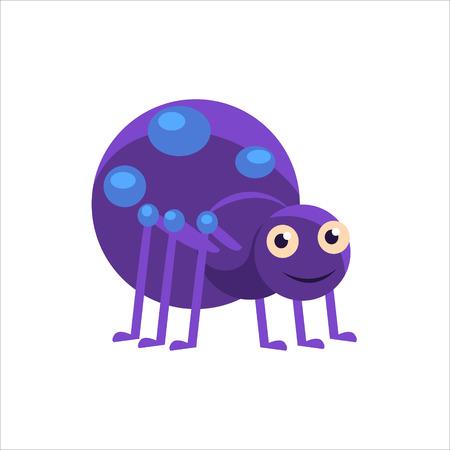 blue eyed: Smiling Spider Childish Character Isolated Flat Colorful Vector Icon On White Background Illustration