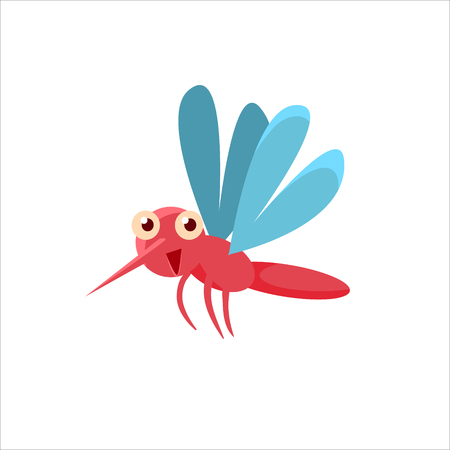 midair: Mosquito Mid-air Childish Character Isolated Flat Colorful Vector Icon On White Background