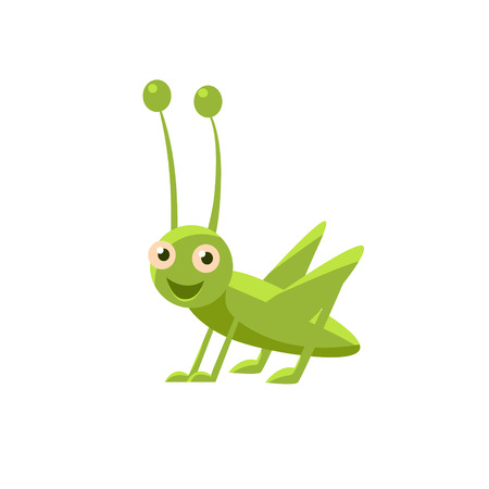 Happy Grasshopper Childish Character Isolated Flat Colorful Vector Icon On White Background Vector Illustration