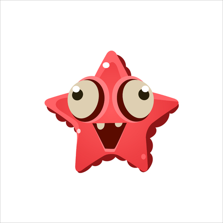 seastar: Pink Seastar From Above Character Isolated Flat Childish Colorful Vector Icon On White Background Illustration