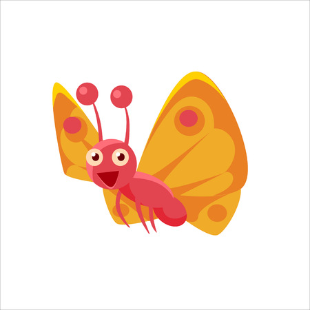 midair: Butterfly Mid-air Childish Character Isolated Flat Colorful Vector Icon On White Background