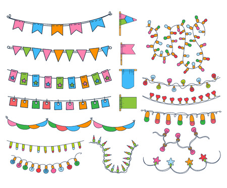 festoon: Collection OF Hand Drawn Garlands, Party Banners And Decor Elemants Isolated Flat Vector Illustrations Illustration