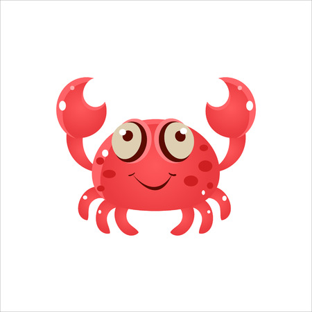 nipper: Pink Crab Character Isolated Flat Childish Colorful Vector Icon On White Background Illustration