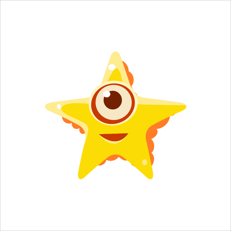 one eyed: Yellow Starfish From Above Character Isolated Flat Childish Colorful Vector Icon On White Background