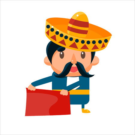 torero: Spanisht Toreador In Traditional Clothes Isolated Flat Vector Cute Illustration On White Background Illustration
