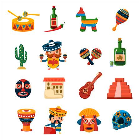 Colección de símbolos mexicanos tradicionales aislado Vector plano CuteIcons sobre fondo blanco