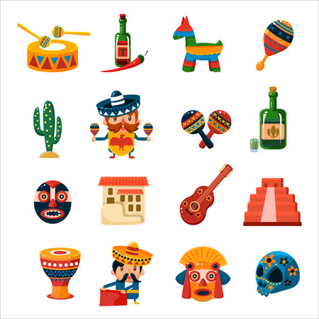 mexican cartoon: Traditional Mexican Symbols Collection Isolated Flat Vector CuteIcons On White Background