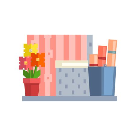 Flower and Buket With Papers On The Shelf 8-bit Abstract Primitive Flat Vector Illustration On White Background